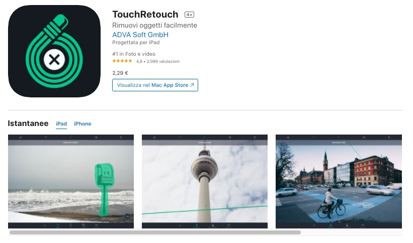 TouchRetouch: app editing foto a pagamento