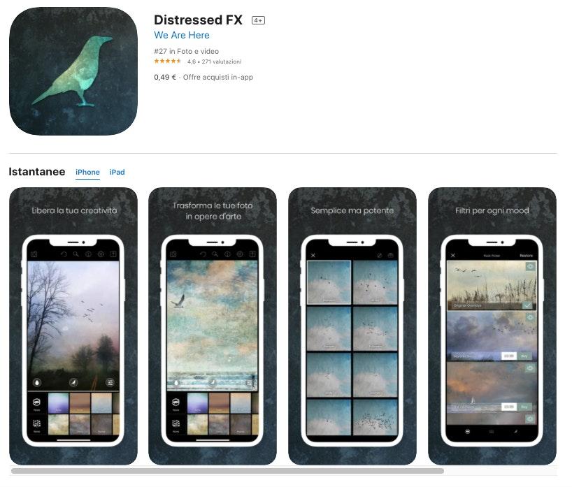 DistressedFX: app per modificare foto iPhone a pagamento