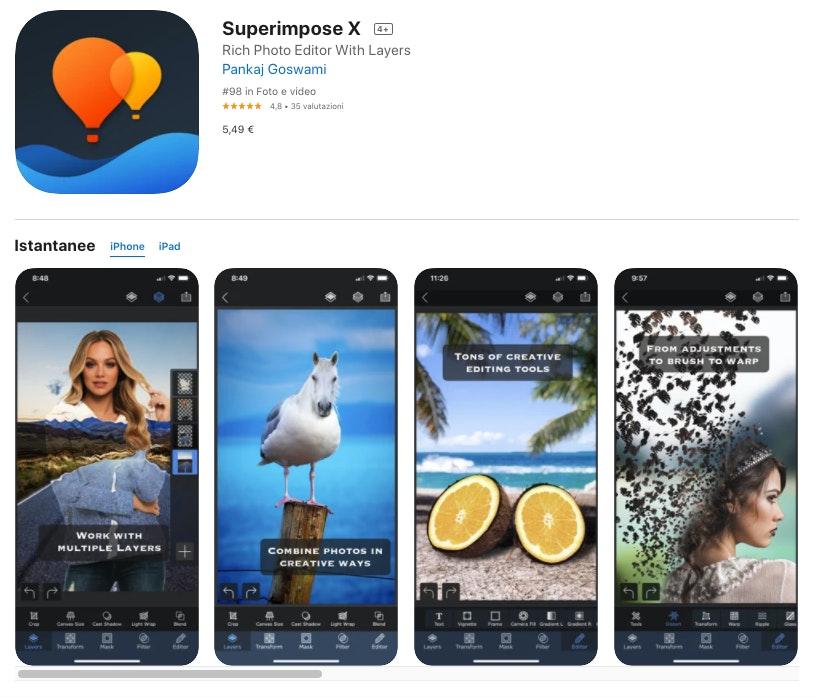 Superimpose X: app per modificare foto iPhone a pagamento