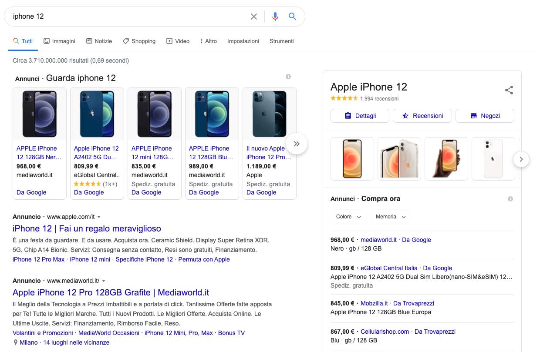 funzionalità serp: knowledge graph, google shopping, annunci
