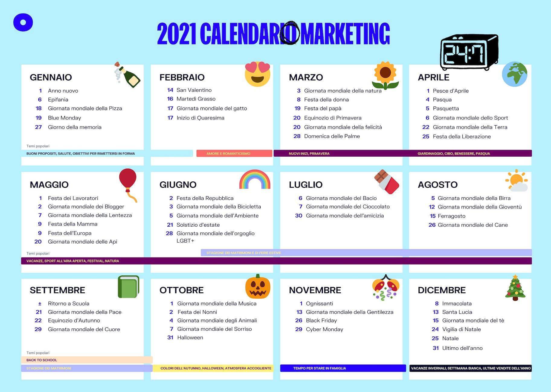 calendario per ecommerce 2021