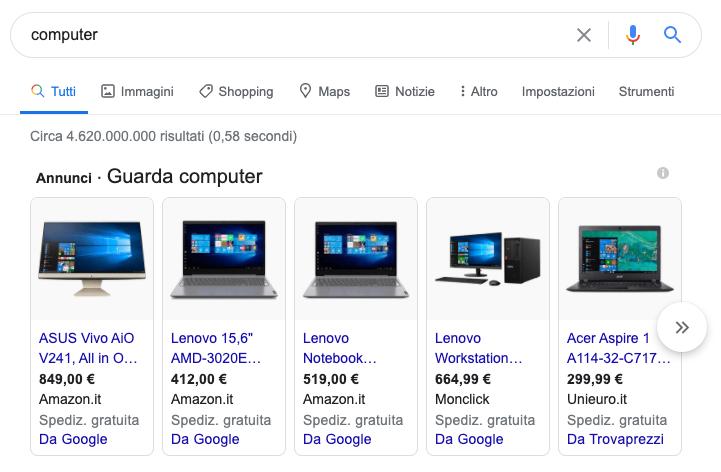 Funzionalità SERP: google shopping panel