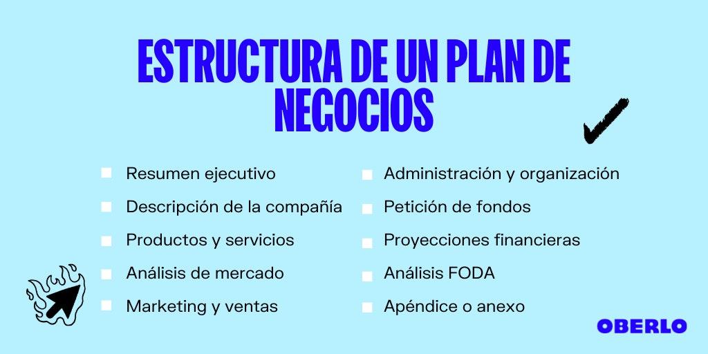 estructura del plan de negocios de una empresa - modelo plan de negocios