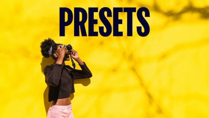 Presets: mulher tirando uma fotografia