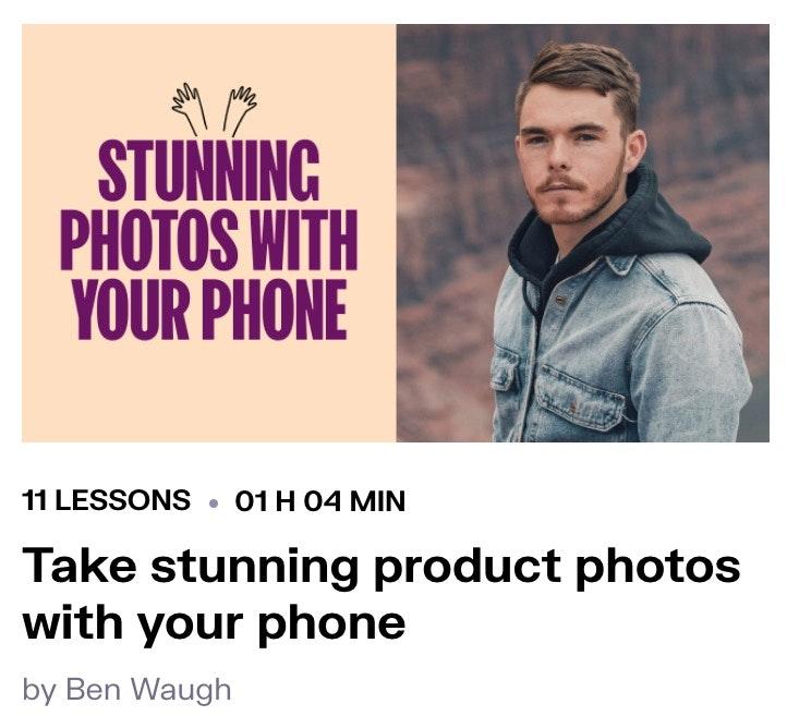 presente de curso de fotografia de produto