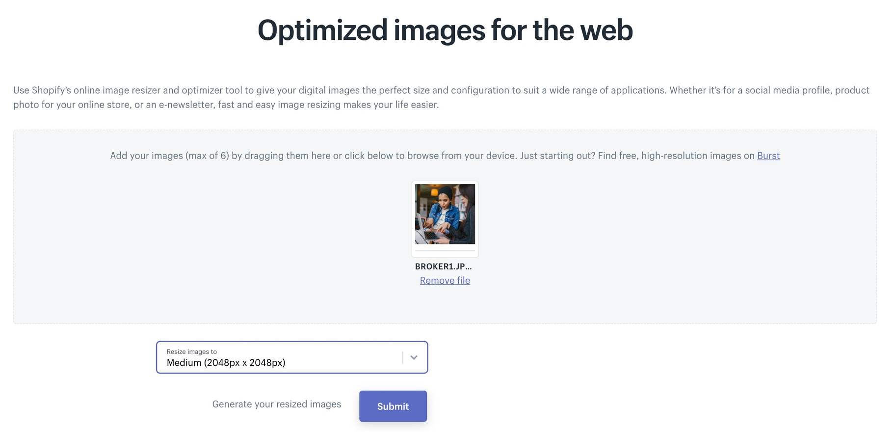 Shopify image optimizer
