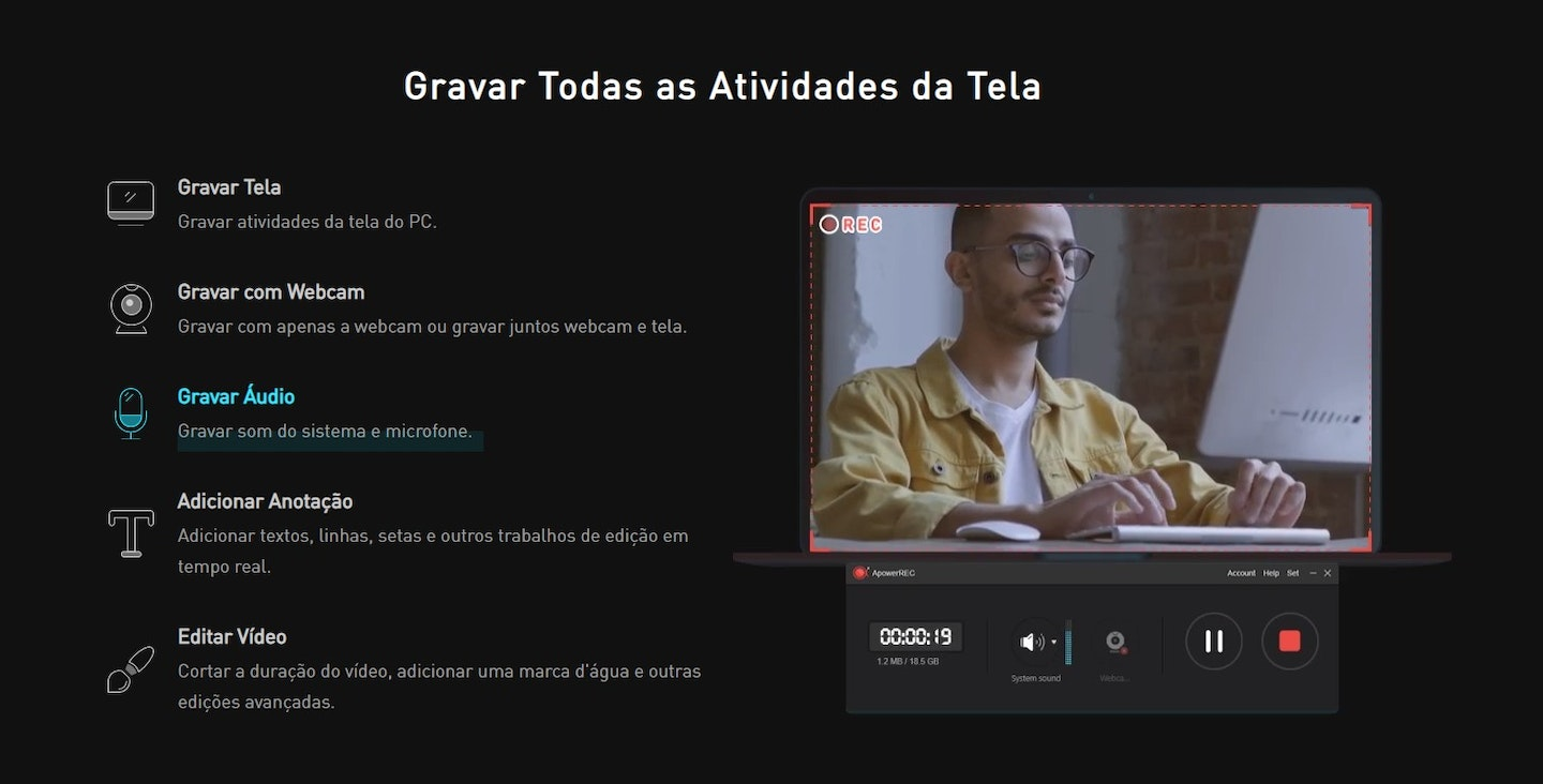 Gravar tela do PC: Apowersoft Unlimited
