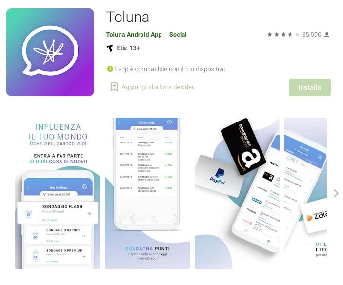 App per guadagnare con i sondaggi: Toluna