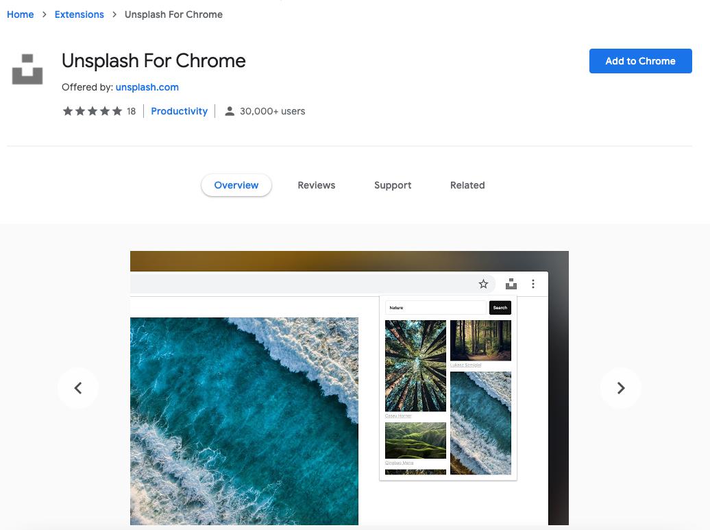 Estensioni Google Chrome: Unsplash