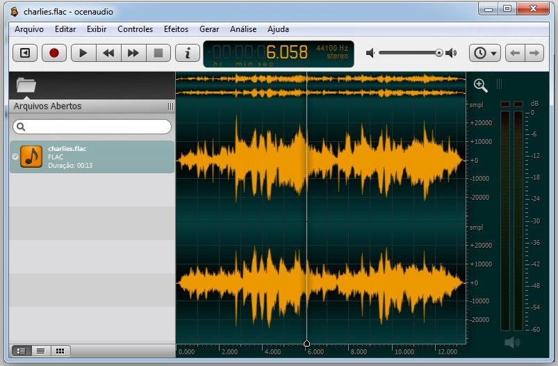 Editor de áudio: Ocenaudio