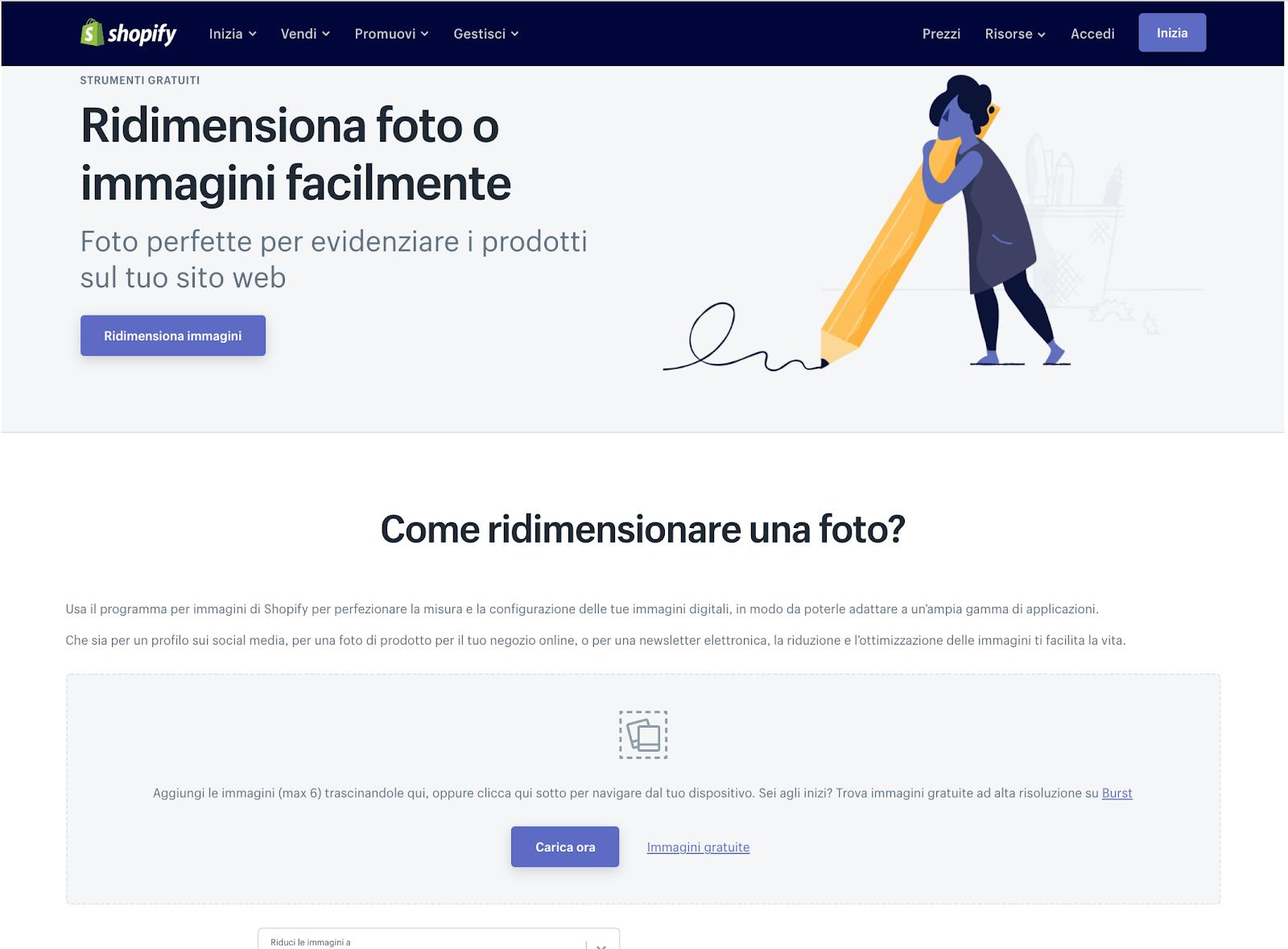 ridimensionare immagini online gratis con Shopify