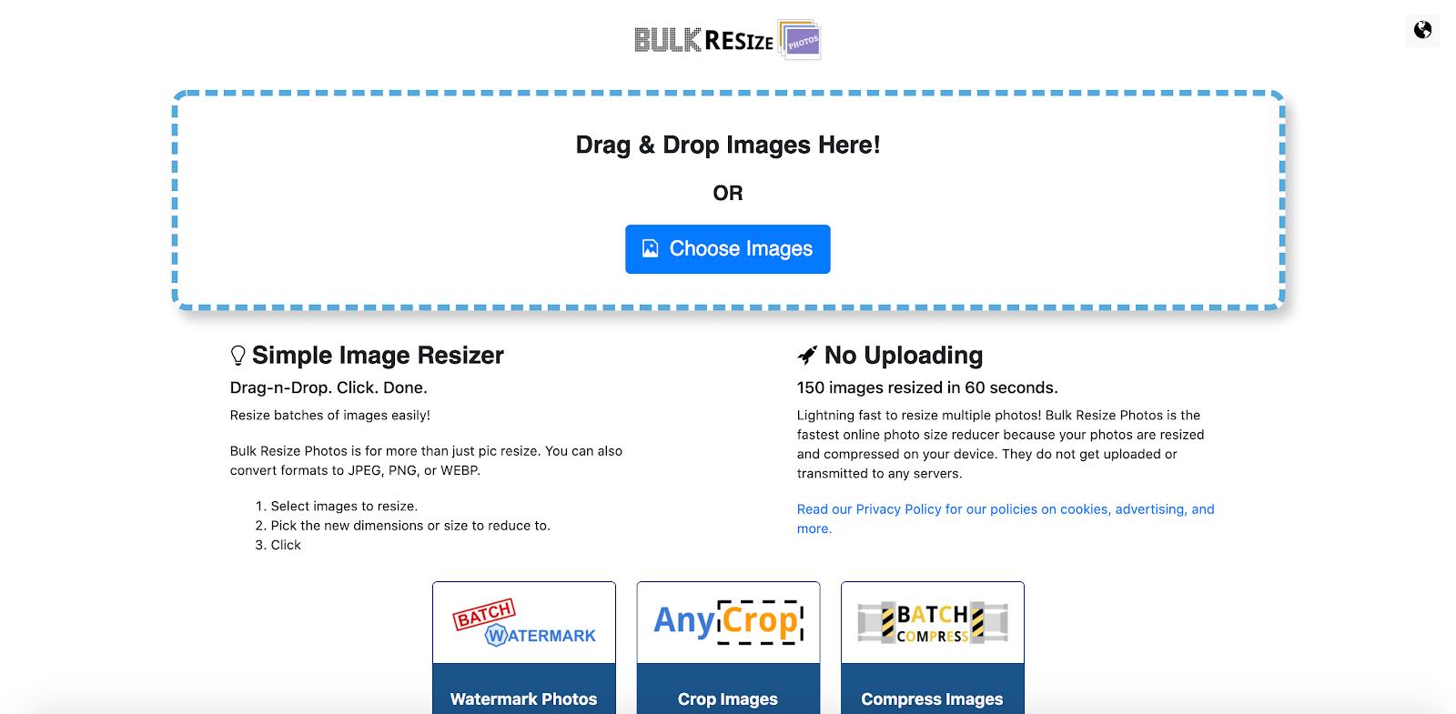 Programmi per ridimensionare immagini gratis online: bulk resize