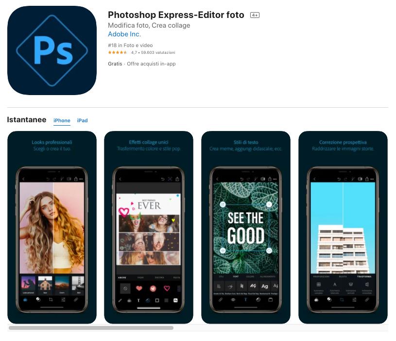 App per ridimensionare immagini: Photoshop Express