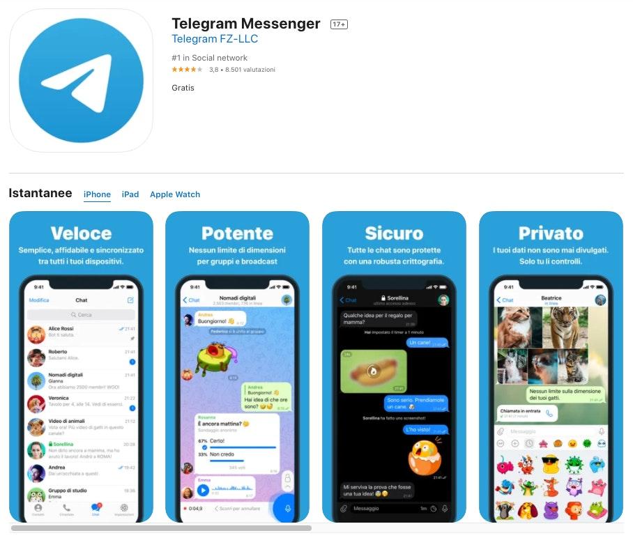 Alternative a WhatsApp: Telegram Messenger