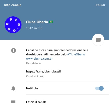 Clube Oberlo Telegram