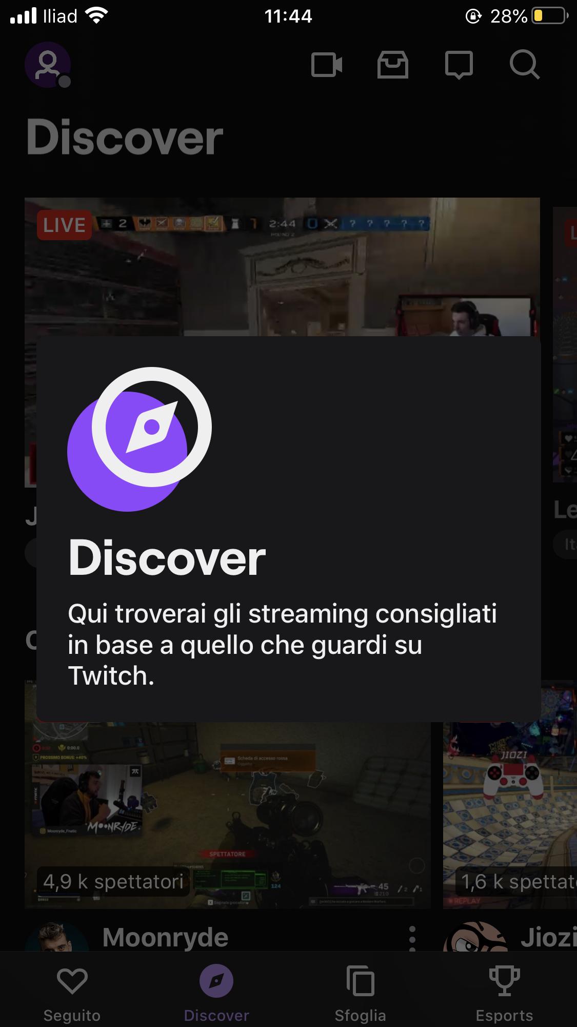 sezione discover twitch