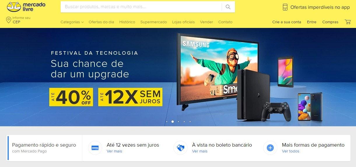 Site de compras online: Mercado Livre