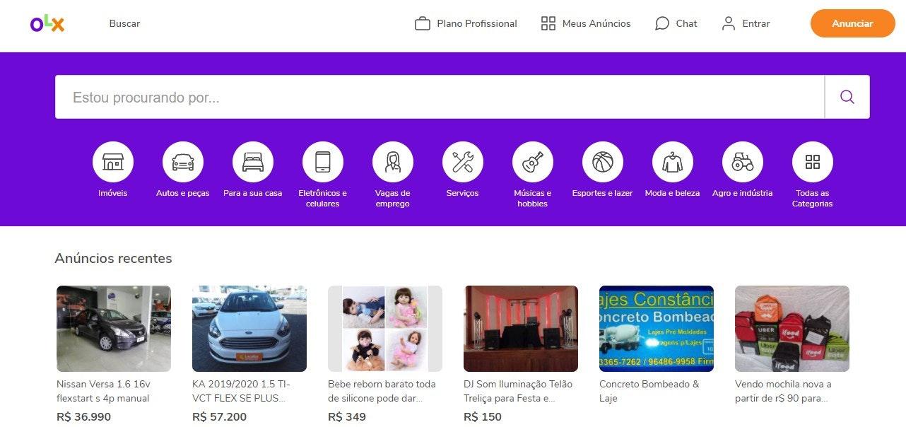 Site de compras online: OLX