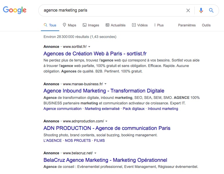 Exemple Google Ads search