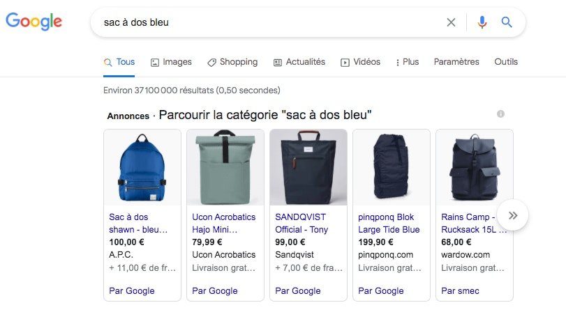 Exemple Google Ads Shopping