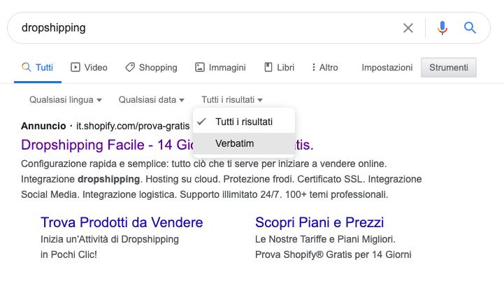 ottimizzazione seo on page: Verbatim di google