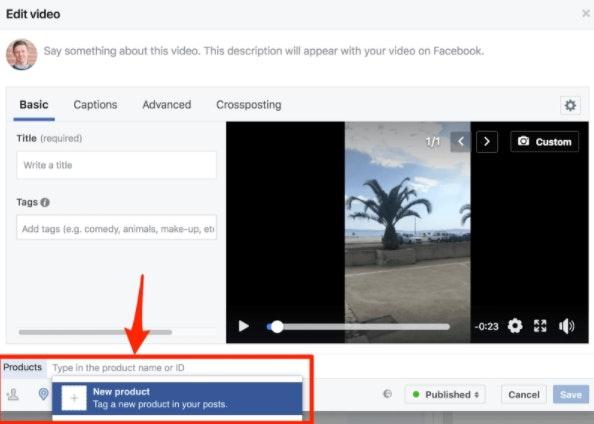 Lier produits dans Facebook