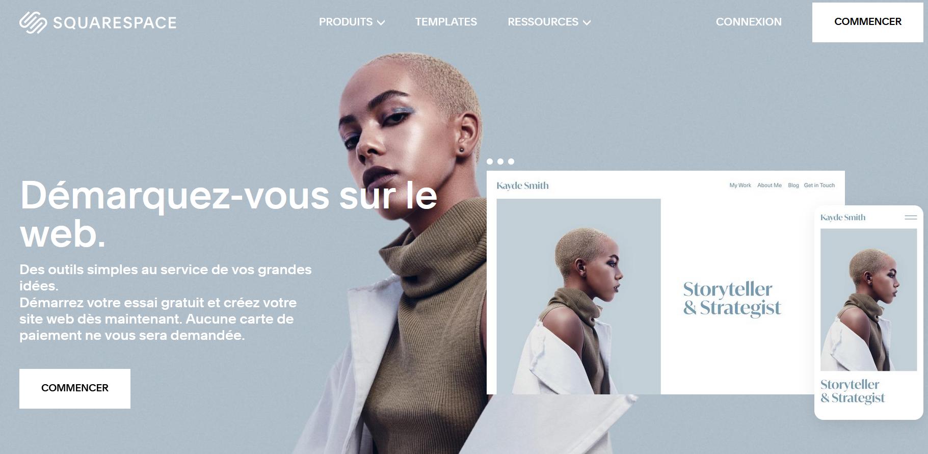 créer un site web avec squarespace