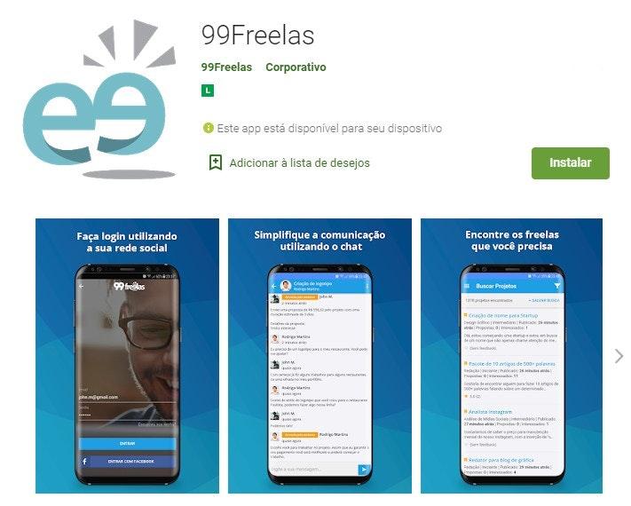 App para ganhar dinheiro: 99Freelas