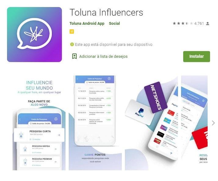 App para ganhar dinheiro: Toluna Influencers