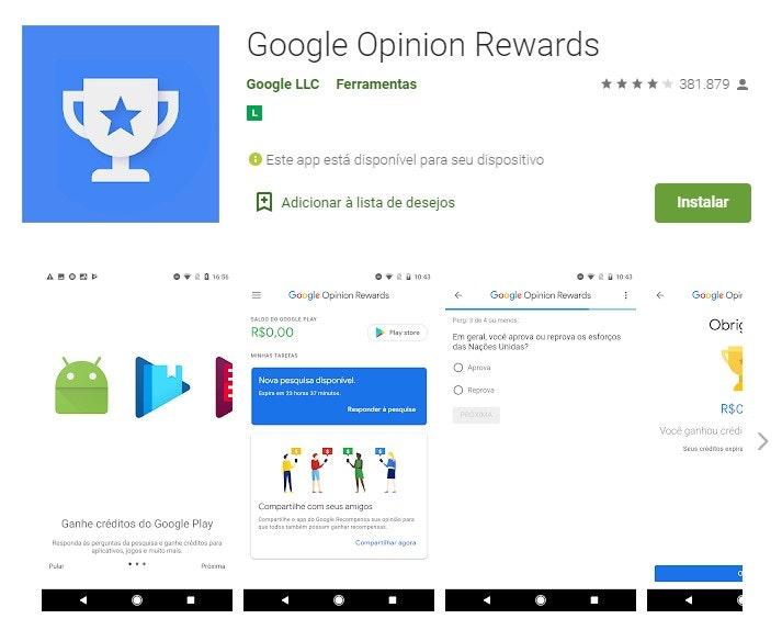 Aplicativos para ganhar dinheiro: Google Opinion Rewards