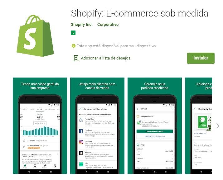 App para ganhar dinheiro: Shopify