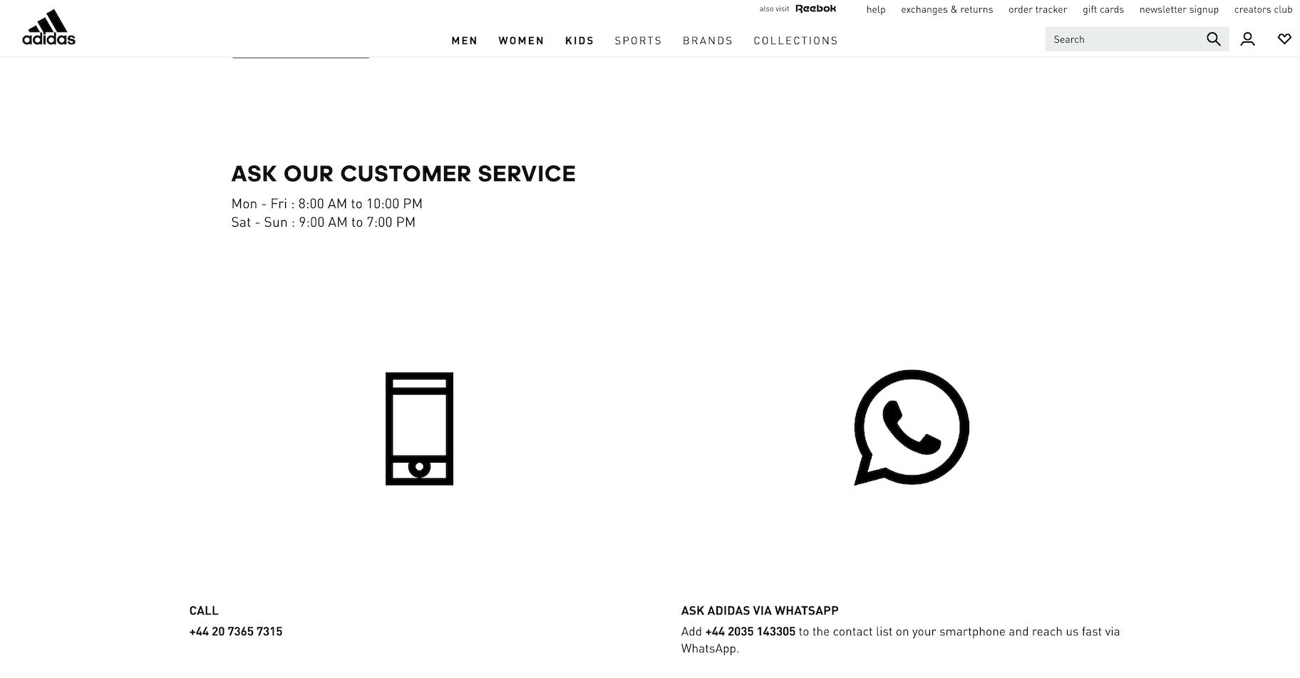 Adidas whatsapp customer service