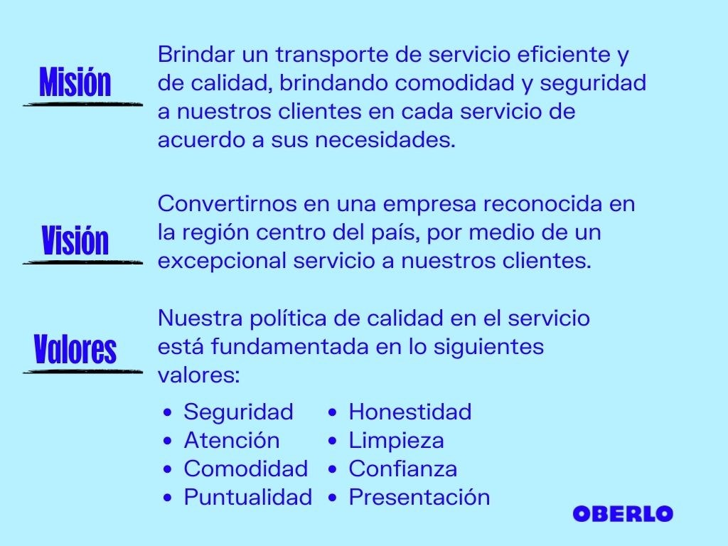 Ejemplo de misión, visión y valores de una empresa (ClickVan)