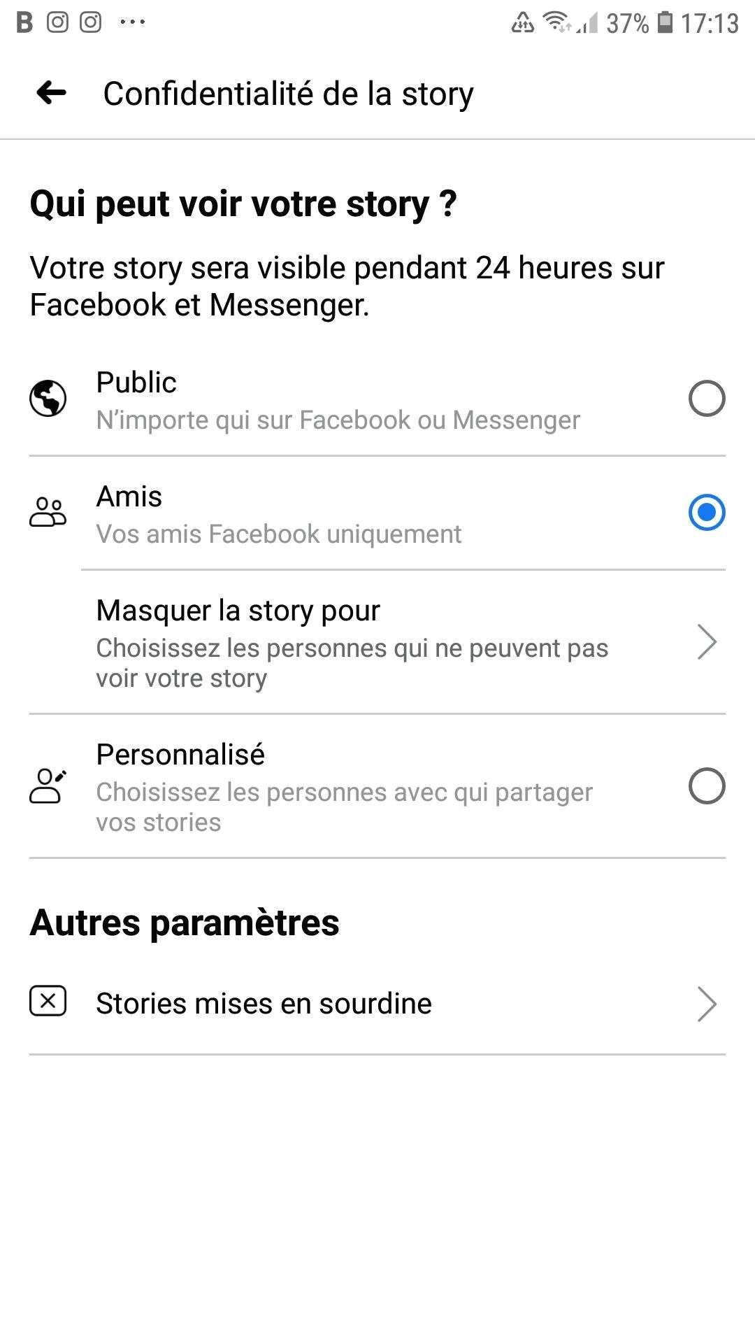 Réglages Facebook
