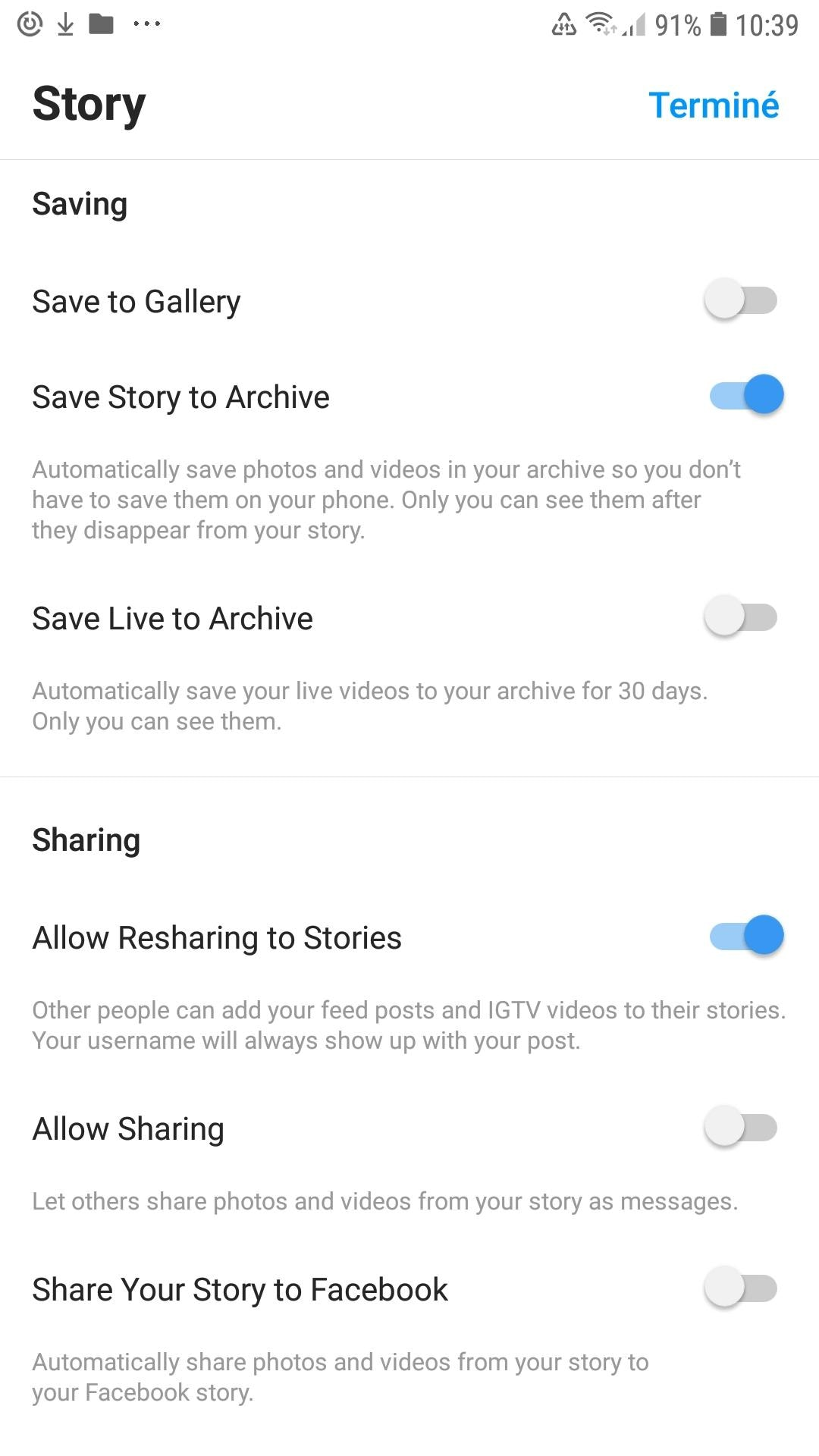 Partager une story instagram sur Facebook