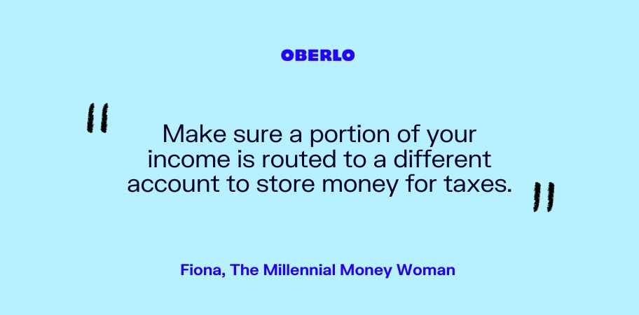 Fiona, The Millennial Money Woman talks about setting aside money for taxes