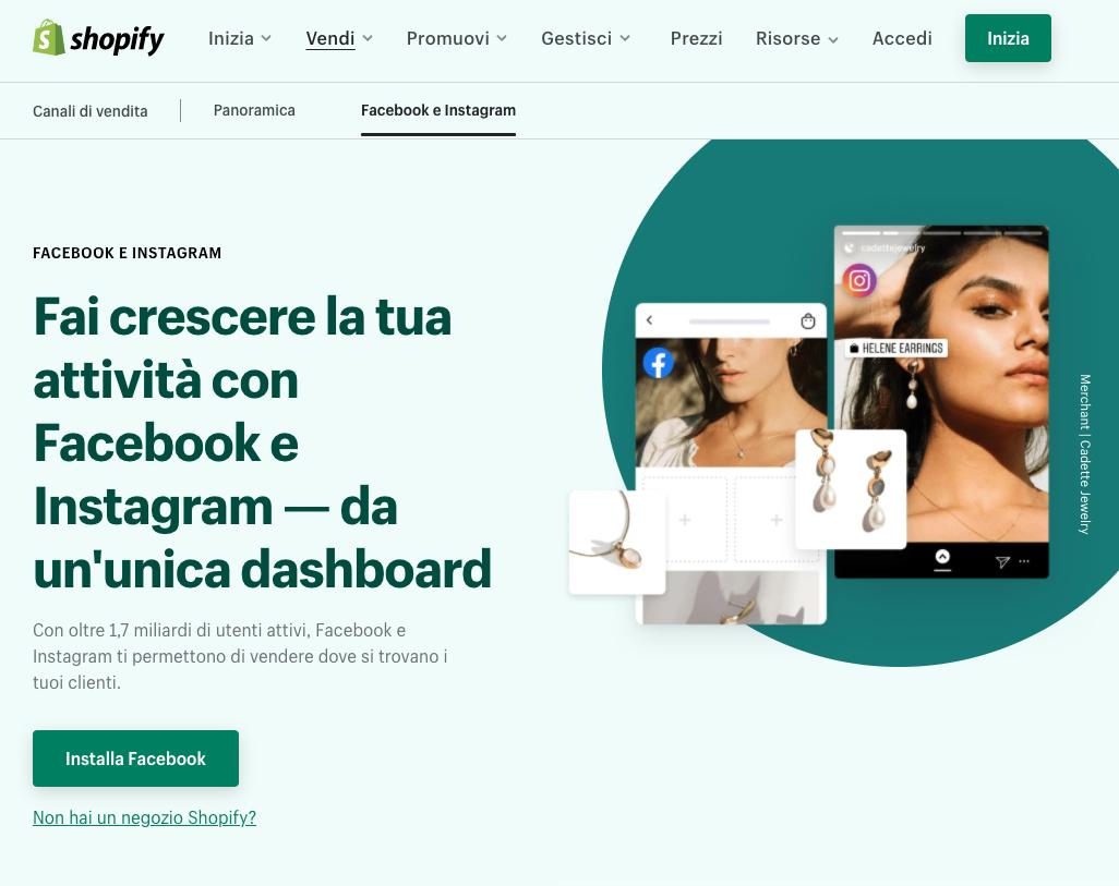 Connettere shopify e Instagram Shopping