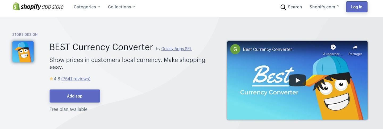Appli convertisseur Shopify