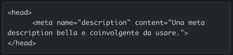 meta description codice esempio