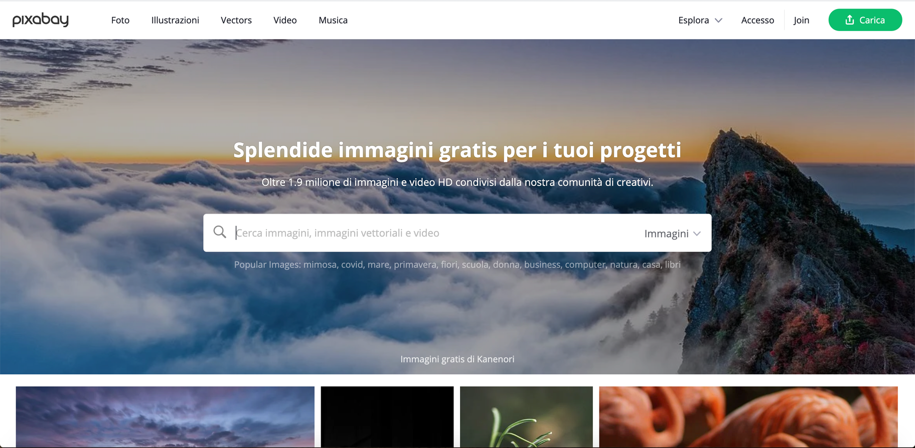 Pixabay - siti per scaricare video gratis