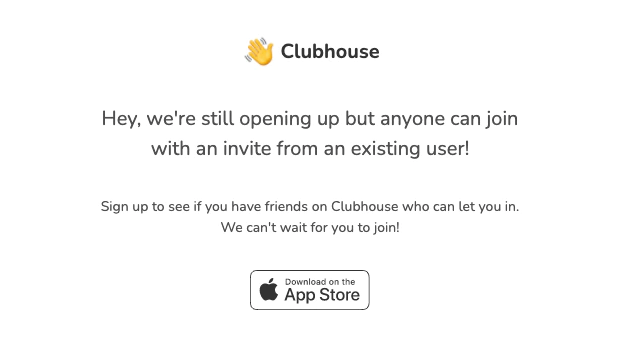 Clubhouse invitation