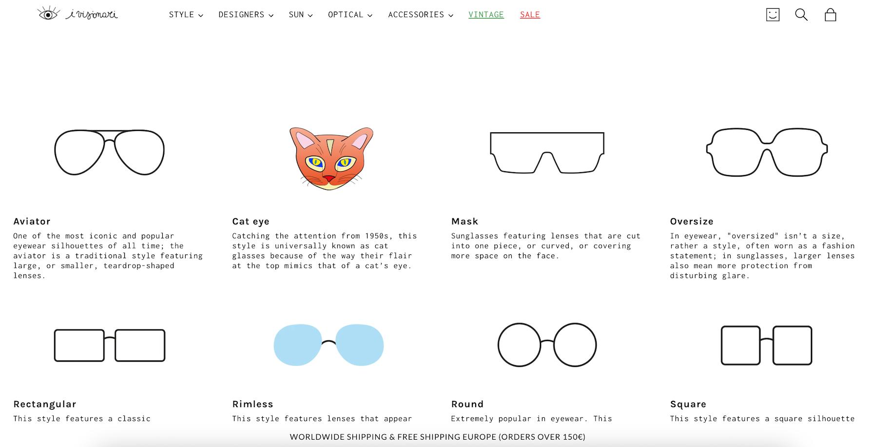 visionari negozio shopify