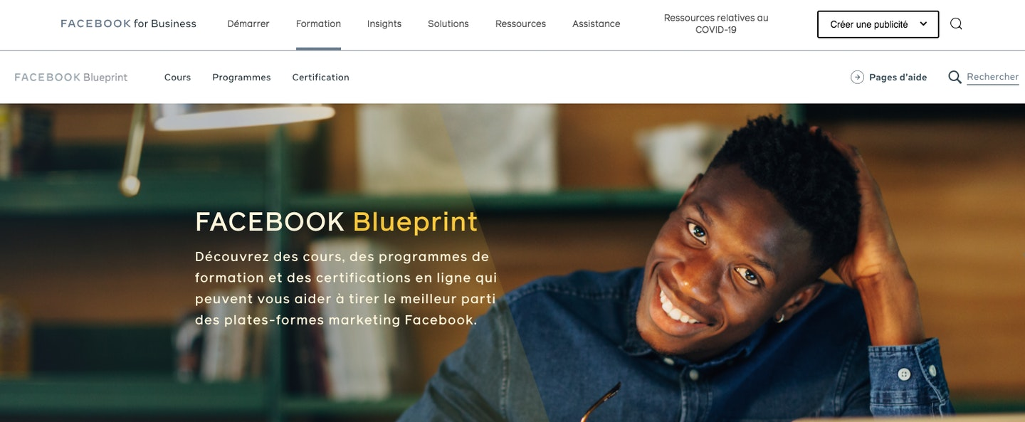 Facebook Blueprint formation marketing digital
