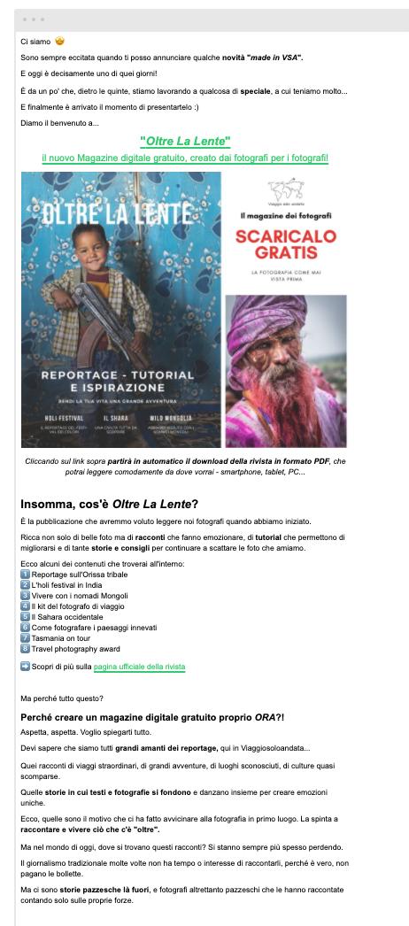 newsletter monoprodotto viaggiosoloandata.it