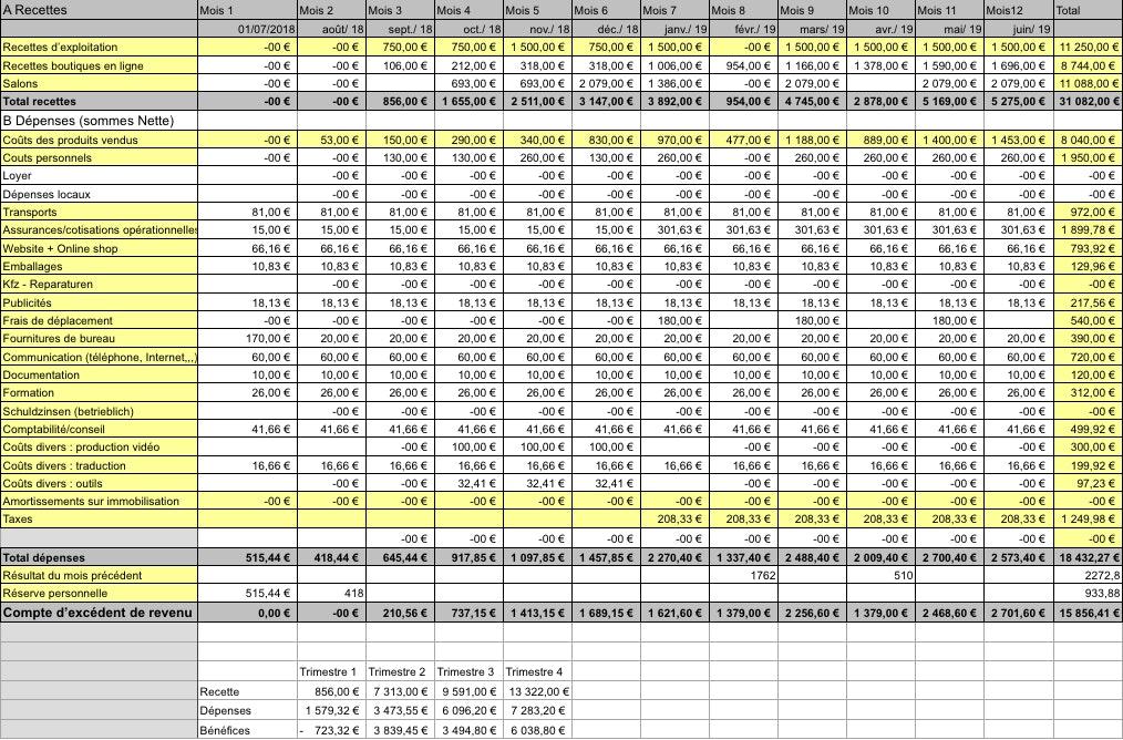 Exemple budget prévisionnel