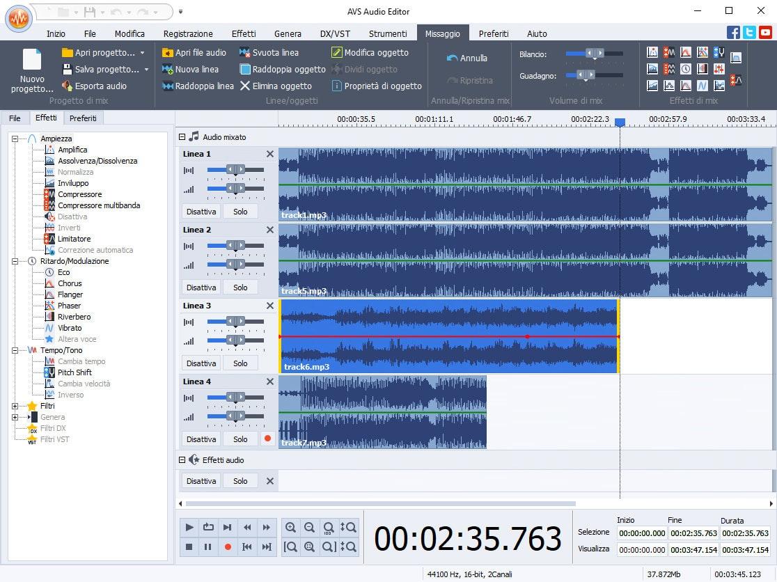 editing audio con avs