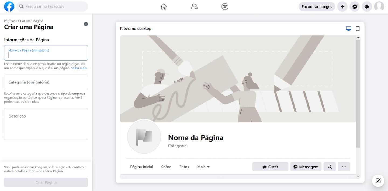 página de personalização do Facebook Business