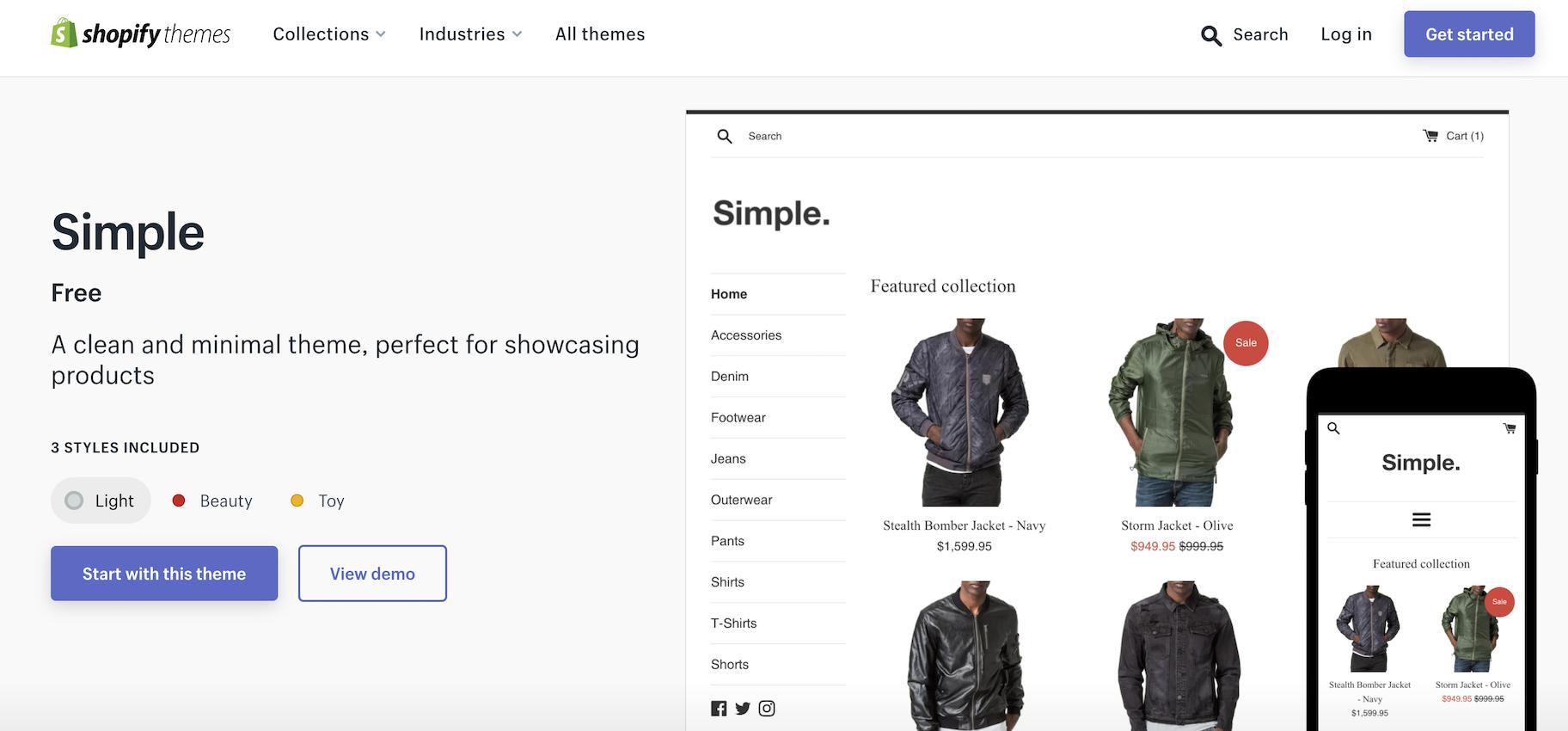 minimalist shopify themes