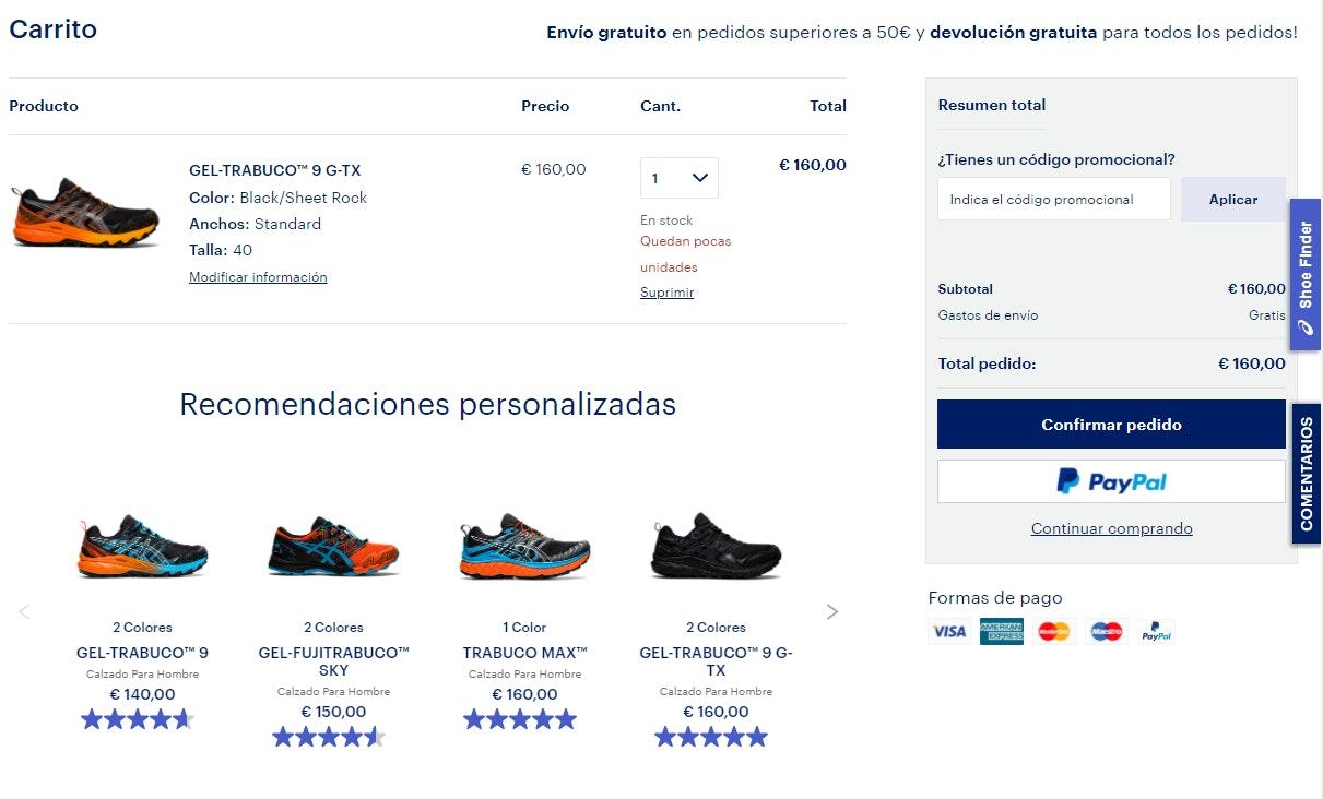 Ejemplos de venta cruzada en página de checkout