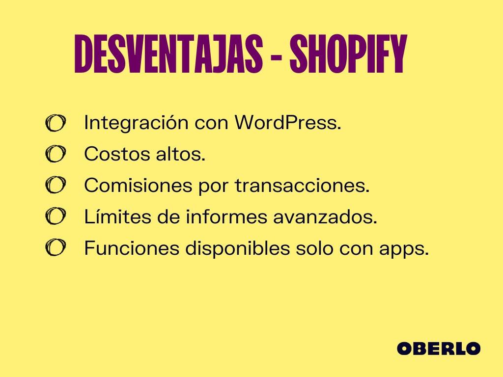 shopify colombia desventajas